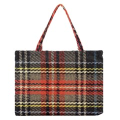 Fabric Texture Tartan Color  Medium Zipper Tote Bag