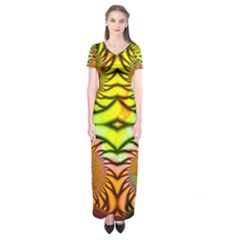 Fractals Ball About Abstract Short Sleeve Maxi Dress