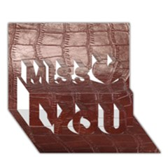 Leather Snake Skin Texture Miss You 3d Greeting Card (7x5)