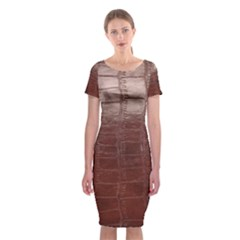 Leather Snake Skin Texture Classic Short Sleeve Midi Dress