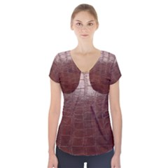 Leather Snake Skin Texture Short Sleeve Front Detail Top