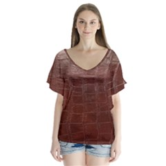Leather Snake Skin Texture Flutter Sleeve Top
