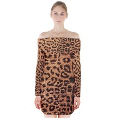 Leopard Print Animal Print Backdrop Long Sleeve Off Shoulder Dress