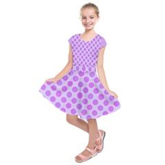 Pastel Pink Mod Circles Kids  Short Sleeve Dress