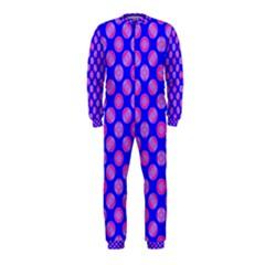 Bright Mod Pink Circles On Blue Onepiece Jumpsuit (kids)