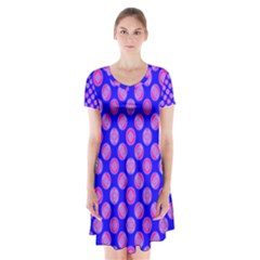 Bright Mod Pink Circles On Blue Short Sleeve V Neck Flare Dress