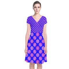 Bright Mod Pink Circles On Blue Short Sleeve Front Wrap Dress