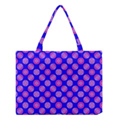 Bright Mod Pink Circles On Blue Medium Tote Bag