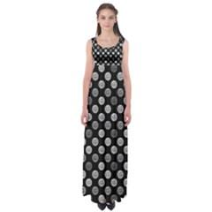 Death Star Polka Dots In Greyscale Empire Waist Maxi Dress