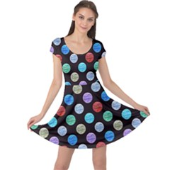 Death Star Polka Dots in Multicolour Cap Sleeve Dresses