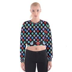 Death Star Polka Dots In Multicolour Women s Cropped Sweatshirt