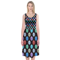 Death Star Polka Dots In Multicolour Midi Sleeveless Dress