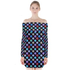 Death Star Polka Dots in Multicolour Long Sleeve Off Shoulder Dress