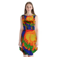 Parakeet Colorful Bird Animal Sleeveless Chiffon Dress