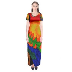 Parakeet Colorful Bird Animal Short Sleeve Maxi Dress