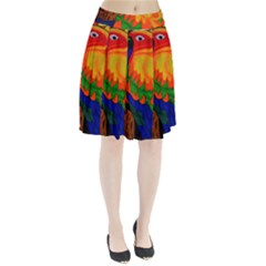 Parakeet Colorful Bird Animal Pleated Skirt