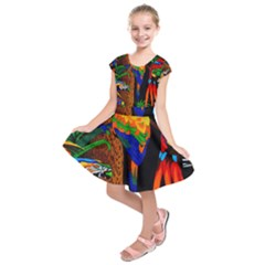 Parrots Aras Lori Parakeet Birds Kids  Short Sleeve Dress