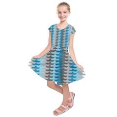 Pattern Boats Background Ship Kids  Short Sleeve Dress