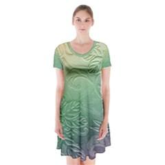 Plants Nature Botanical Botany Short Sleeve V-neck Flare Dress