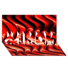 Red Fractal  Mathematics Abstact #1 Mom 3d Greeting Cards (8x4)
