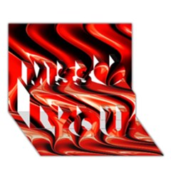 Red Fractal  Mathematics Abstact Miss You 3d Greeting Card (7x5)