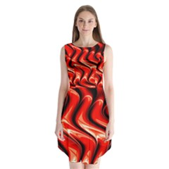 Red Fractal  Mathematics Abstact Sleeveless Chiffon Dress