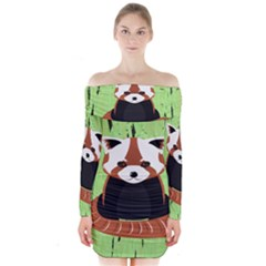 Red Panda Bamboo Firefox Animal Long Sleeve Off Shoulder Dress