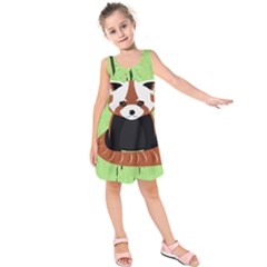 Red Panda Bamboo Firefox Animal Kids  Sleeveless Dress