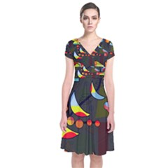 Happy Day 2 Short Sleeve Front Wrap Dress