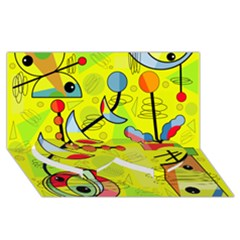 Happy day - yellow Twin Heart Bottom 3D Greeting Card (8x4)