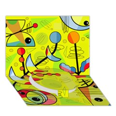 Happy Day   Yellow Circle Bottom 3d Greeting Card (7x5)
