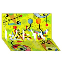 Happy day - yellow PARTY 3D Greeting Card (8x4)
