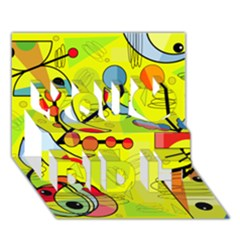 Happy day - yellow You Did It 3D Greeting Card (7x5)