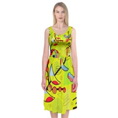 Happy day - yellow Midi Sleeveless Dress