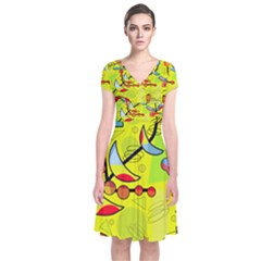 Happy day - yellow Short Sleeve Front Wrap Dress