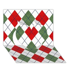 Red Green White Argyle Navy Heart 3d Greeting Card (7x5)