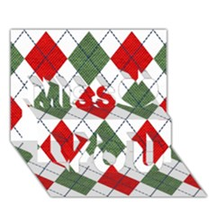 Red Green White Argyle Navy Miss You 3D Greeting Card (7x5)