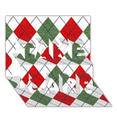 Red Green White Argyle Navy Take Care 3d Greeting Card (7x5)