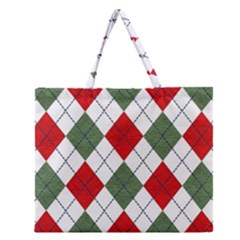 Red Green White Argyle Navy Zipper Large Tote Bag