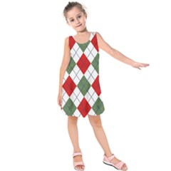 Red Green White Argyle Navy Kids  Sleeveless Dress