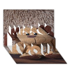 Stuffed Animal Fabric Dog Brown Miss You 3d Greeting Card (7x5)