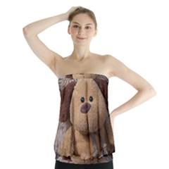 Stuffed Animal Fabric Dog Brown Strapless Top