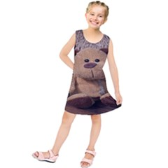 Stuffed Animal Fabric Dog Brown Kids  Tunic Dress