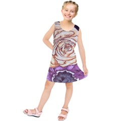 Texture Flower Pattern Fabric Design Kids  Tunic Dress