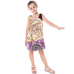 Texture Flower Pattern Fabric Design Kids  Sleeveless Dress
