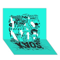 Typography Illustration Chaos Love 3d Greeting Card (7x5)