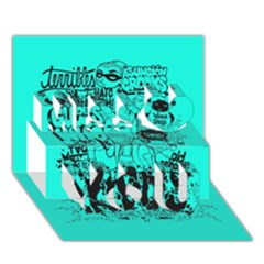 Typography Illustration Chaos Miss You 3D Greeting Card (7x5)