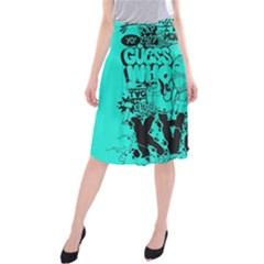 Typography Illustration Chaos Midi Beach Skirt