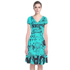 Typography Illustration Chaos Short Sleeve Front Wrap Dress