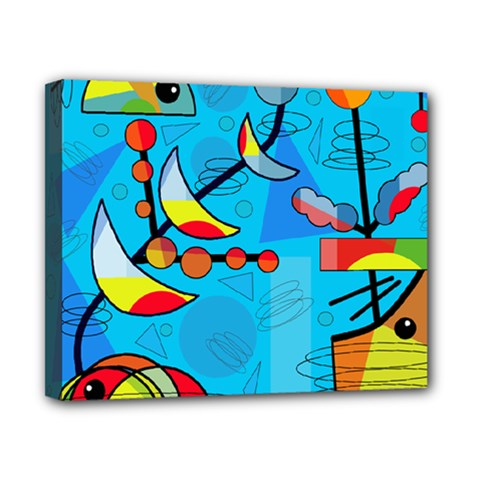Happy day - blue Canvas 10  x 8